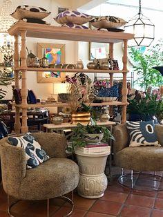 Bookcase pillow display at Mecox Palm Beach #interiordesign #home #decor #design