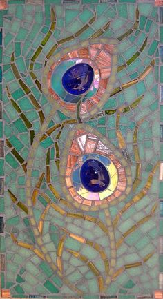 Greetings card from an original mosaic. The original peacock feather mosaic was made from stained glass, glass tiles and glass nuggets.    Card is