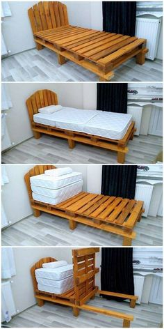 Add your living room area with the beautiful concept of the beautiful pallet bed frame design. this pallet bed framing project is the perfect option to add Pallet Bed Frames, Diy Pallet Bed, Diy Bed Frame, Diy Pallet Projects, Wood Pallet Beds, Wood Pallets, Pallet Bench, Wood Projects, Pallet Furniture Designs