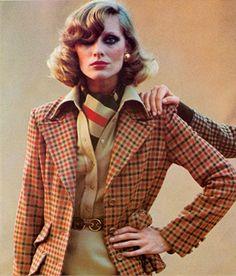 Vogue Italia, October 1973 Gibi jacket, shirt, scarf and skirt, Borbonese belt Photo by Oliviero Toscani