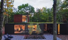 Johnsen Schmaling Architects designed the Pleated House, a green-roofed dwelling that blends into its forested surroundings.