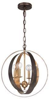 Crystorama Luna 4 Light Bronze & Gold Sphere Chandelier
