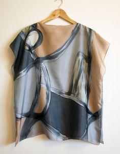 Zijden blouse hand geschilderd-Silk sjaal-bruiloft