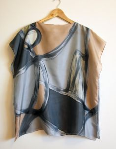 Silk blouse hand painted-Silk scarf-Wedding blouse Scarves