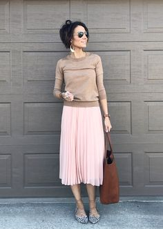 Everyday Style Ideas Early Spring. Includes: cardigan, cute sneakers, distressed denim, graphic tee, leopard flats, military jacket, nude flats, overalls, pleated skirt, sweater, leather earrings, modest fashion, mom fashion.