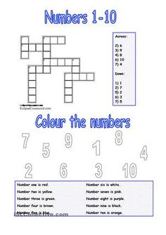There are two easy exercises for young learners. 1) It's a crossword including numbers 1-10. 2) Colouring activity: ss have to read the sentences and then they have to colour the numbers. I hope you like it and find it useful!Have a nice day! :-) - ESL worksheets