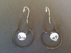 Oxidized Chandelier Earrings with Crystal Quartz by TessaUnderwood, $32.00