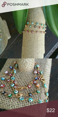 18k gold plated evil's eye bracelet Aways a best seller all 18k gold plated, perfect for layering up with more bracelets  Made in USA Jewelry Bracelets