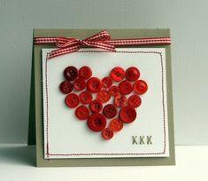 Herz-Knöpfe Weihnachtskarte basteln
