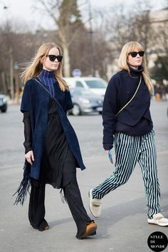 Thora Valdimarsdottir and Jeanette Friis Madsen Street Style Street Fashion Streetsnaps by STYLEDUMONDE Street Style Fashion Blog