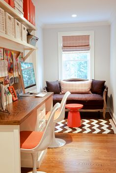 Office Nook with white desk and shelving, grainy wood desktop, chevron rug and loveseat - Bryan Road Home by Nightingale Design