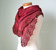 INSTANT DOWNLOAD PAULA Knit & crochet shawl by BernioliesDesigns