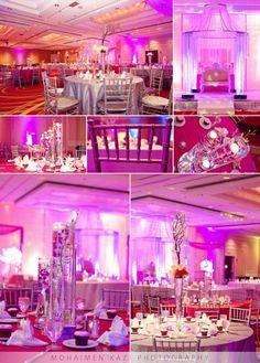 Pink and silver themed ballroom South Asian wedding reception via IndianWeddingSite.com