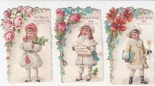 3 Religious Sayings Vintage Cards Flowers Children in Winter Garb c 1880s
