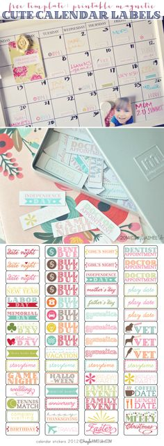 Free Printable Magnetic Calendar Label Stickers (+ a non-magnetic sticker version for paper calendars)