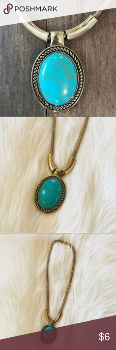 Turquoise & Gold Statement Pendant Necklace Such a fun and original necklace! Works so well with many of the fun tops I have listed!   The gold coloring has worn off a bit near the clasps. See photos. Pendant still in great condition - super cute for summer!!  💕 Jewelry Necklaces