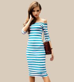 2016 Women Summer Dress Sexy Off The Shoulder Knee Length Striped Half Sleeve Bodycon
