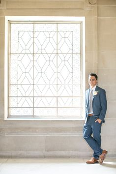 San Francisco City Hall - Intimate Wedding - groom - navy blue and grey - elopement - navy blue and brown