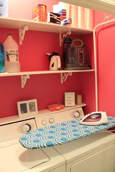 Small laundry closet - over the door ironing board hung on the wall - iron over the washer and dryer Laundry Closet Makeover, Laundry Room Organization, Pink Laundry Rooms, Laundry Room Design, Closet Laundry Rooms, Tiny Closet, Room Closet, Folding Closet Doors, Iron Board