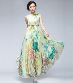 15 Off Beige Green Floral Print Aline Dress Bohemian by ChineseHut, $159.00