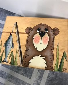 Your place to buy and sell all things handmade Tole Painting, Diy Painting, Painting On Wood, Painting Tutorials, Bear Paintings, Wildlife Paintings, Bear Fishing, Rosalie, Rock Painting Designs