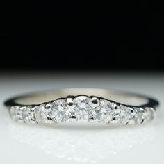 Vintage .50ct Natural Diamond Curved Wedding Band Ring  in 14k White Gold- Size 8