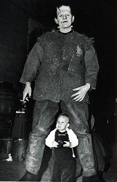 Frankenstein monster Boris Karloff towers over Bela Lugosi Jr. during the making of Son Of Frankenstein, 1939.