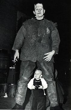 This may possibly be the best photo ever. Lon Chaney, Jr in his Frankenstein costume, AND he's smoking, AND that is Bela Lugosi, Jr that he is towering over! Yesssssss!!!!!