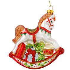 Glass Rocking Horse Christmas Ornament