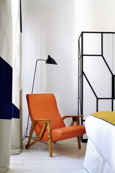 New Rooms with Mondrian-inspired Colour at Hôtel du Ministère, Paris Mondrian, Furniture Styles, Furniture Design, Chateau Hotel, Serge Mouille, Muebles Art Deco, Hotel Restaurant, Hotel Interiors, Mid Century Modern Furniture