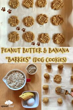 Homemade Dog Cookies with peanut butter and banana! You can bake these to whatever size or texture your dog prefers: chewy or crunchy! Dog Cookie Recipes, Easy Dog Treat Recipes, Homemade Dog Cookies, Dog Biscuit Recipes, Homemade Dog Food, Dog Food Recipes, Simple Dog Treat Recipe, Doggie Cookies Recipe, Recipe For Dog Biscuits
