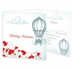 The Love is in the air wedding invite has a beautifull illustration of a couple enjoying themselves in a hot air baloon while love hearts stream below them. The wedding invite has a sense of nostalgia mixed with romance and love. This invite has a perforated rsvp panel along with an extra panel for important information.