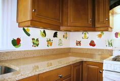 Hand Painted Fruit Tiles and Vegetable Tiles in a Kitchen Backsplash, compatable with Daltile, Decorative Kitchen Tiles Handpainted by Besheer Art Tile Decor, Ceramic Decor, Tiles, Accent Tile Kitchen, Kitchen Remodel, Kitchen Decor, Decorative Tile, Kitchen Tiles Backsplash, Small Tiles