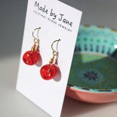 Handmade Lampwork Glass Bead Earrings in Clear Red ~ MadebyJaneDesign on Etsy