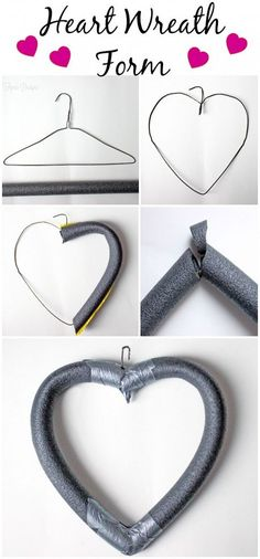 How to Make a Heart Wreath Form using a wire hanger, foam pipe insulator and duct tape - cover in pulp with red felt heart