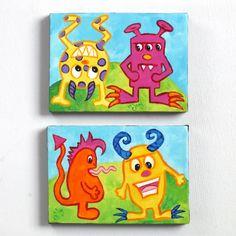 Monster Art for Kids  MONSTER PAIR   Set of 2 5x7 Acrylic Canvas   Whimsical Kids Decor Wall Art   by nJoyArt via Etsy.