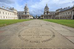 """""""On this site stood the Tudor Palace of Greenwich, built by King Henry VII, and birthplace of King Henry VIII in 1491, and his daughters Queen Mary I in 1516 and Queen Elizabeth I in 1533""""."""