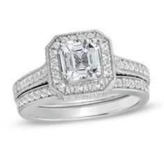 Princess-Cut Lab-Created White Sapphire Frame Bridal Set in Sterling Silver - Size 7 - Jewelry Rings PV - Gordon's Jewelers