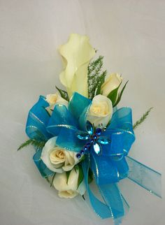 White mini calla lily with roses - turquoise accent ribbon