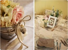 Un semplice secchiello di latta personalizzato con corda e cotone per banchi chiesa e tavoli d'appoggio