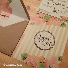 de boda invitacin kraft sobre forrado invitacin rayas y flores originales