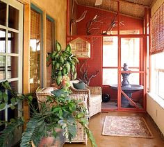 covered porch/sunroom for passive solar heating Small Sunroom, Sunroom Ideas, Passive Solar, Natural Building, Doorway, Warm And Cozy, Interior Inspiration, Small Spaces, Outdoor Furniture Sets
