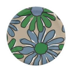big flowers green blue 7 inch paper plate