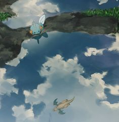 Mudkip and Dragonite. Mudkip, my favorite!!!!<3