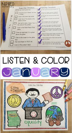"Start the year off with some LISTENING SKILLS FUN! Students LOVE Listen and Color and they strengthen their ""first-time listening"" skills. First Grade Activities, Classroom Activities, Classroom Ideas, Elementary Teaching, Teaching Kids, Comprehension Activities, Reading Comprehension, Kindergarten Social Studies, First Grade Classroom"