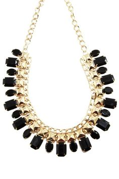 Black Metal & Resin Bib Necklace by t+j Designs on @HauteLook
