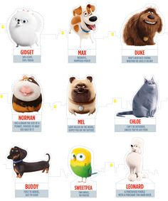 Secret Life of Pets Printable Cut Outs