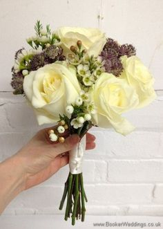 Ivory & Lilac Bridesmaid Hand Tied Bouquet with roses, wax flowers and astrantia Side View Wedding Flowers Liverpool, Merseyside, Bridal Florist, Booker Flowers and Gifts, Booker Weddings