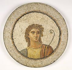 Mosaic of Male Figure in Medallion, by an unknown Roman Artist found in Tunis, Tunisia, from the 1st century-2nd century A.D.    Courtesy the Museum Collection Fund, Brooklyn Museum.    According to the Brooklyn Museum, despite graven image injunctions, human figures have been found on ancient synagogue floors, so the sanctuary floor of the synagogue as the original location of this mosaic of a male figure cannot be ruled out.