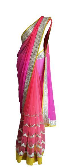 Pret'i by Priti Sahni | Vibrant Pink Net and Chiffon Saree | SCARLETBINDI.COM